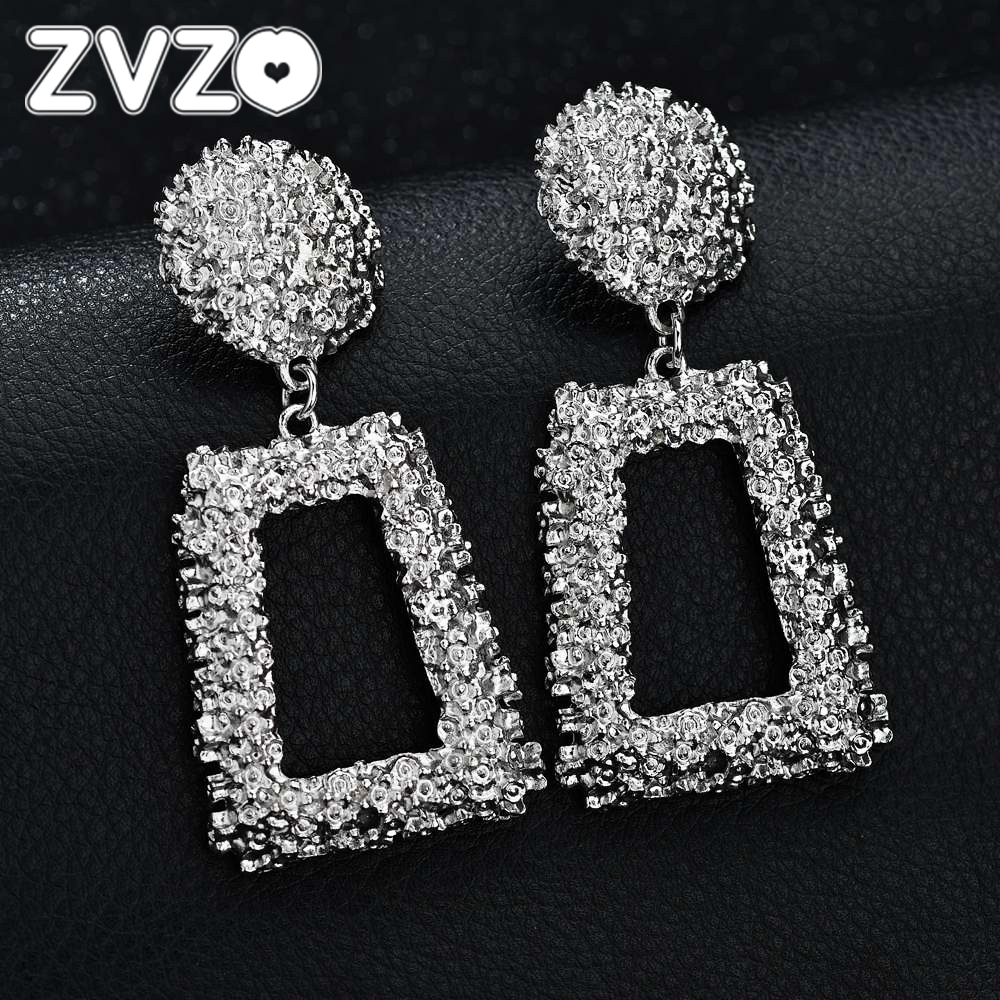 Self-Conscious Zvzo Aretes De Mujer Modernos 2019 Big Vintage Drop Earrings For Women Gold Silver Black Geometric Statement Earring For Women Drop Earrings Jewelry & Accessories