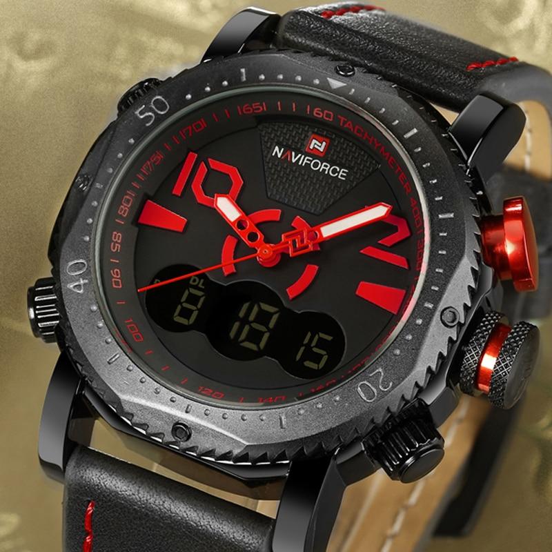 Prix pour NaviForce Montres Hommes Marque De Luxe De Mode Casual Montre En Cuir de Quartz Horloge Hommes Sport Montres Hommes Militaire Montre-Bracelet + boîte