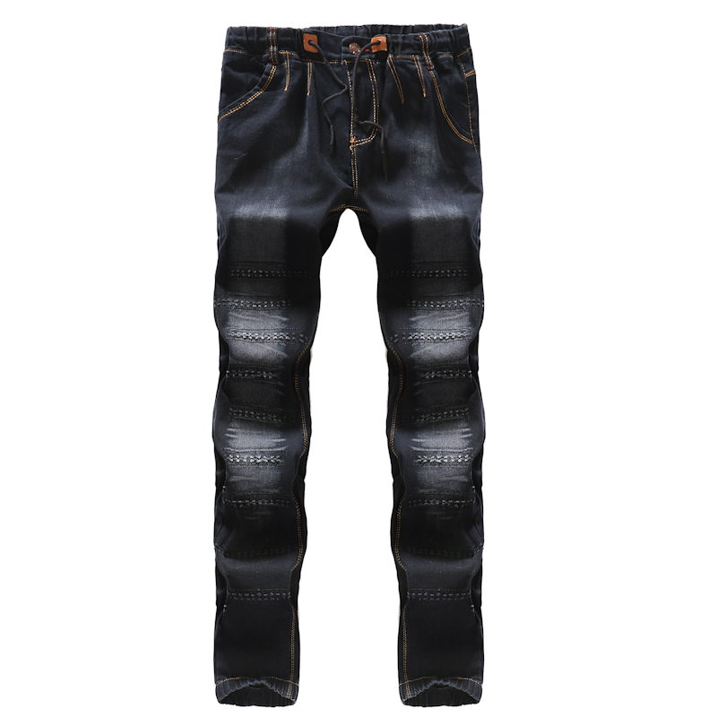 New Mens Black Jeans Fashion Casual Comfortable Men Lace-up Trousers Size 29-36