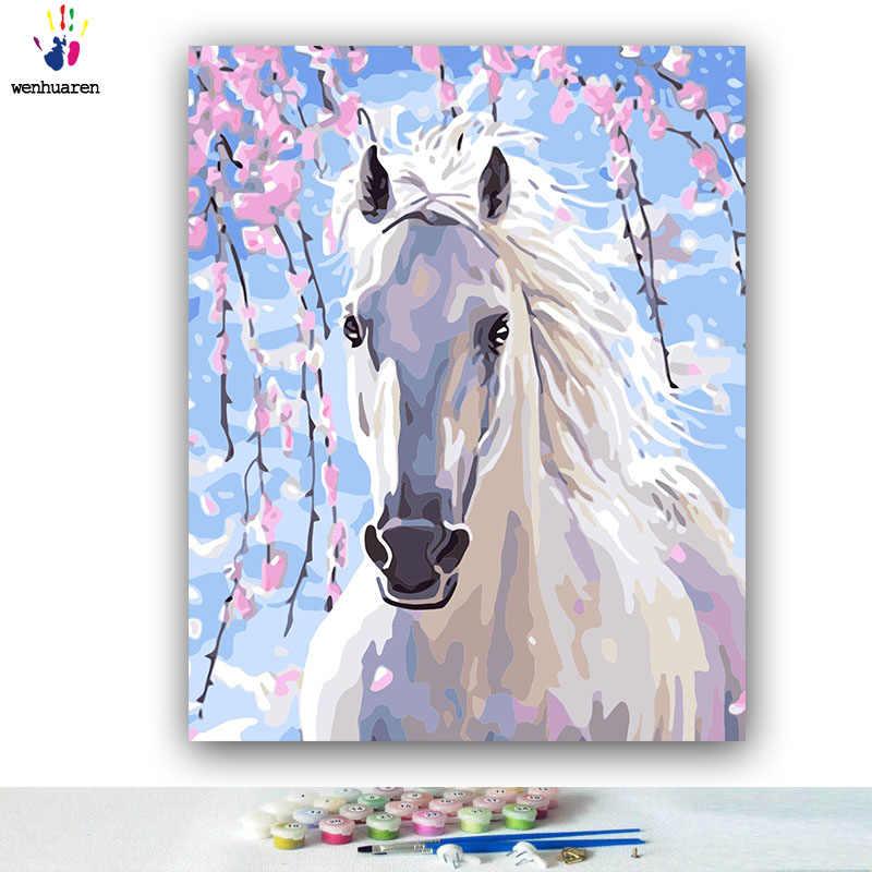 DIY 着色番号白馬下花ツリー図番号キットによる 40x50 フレーム