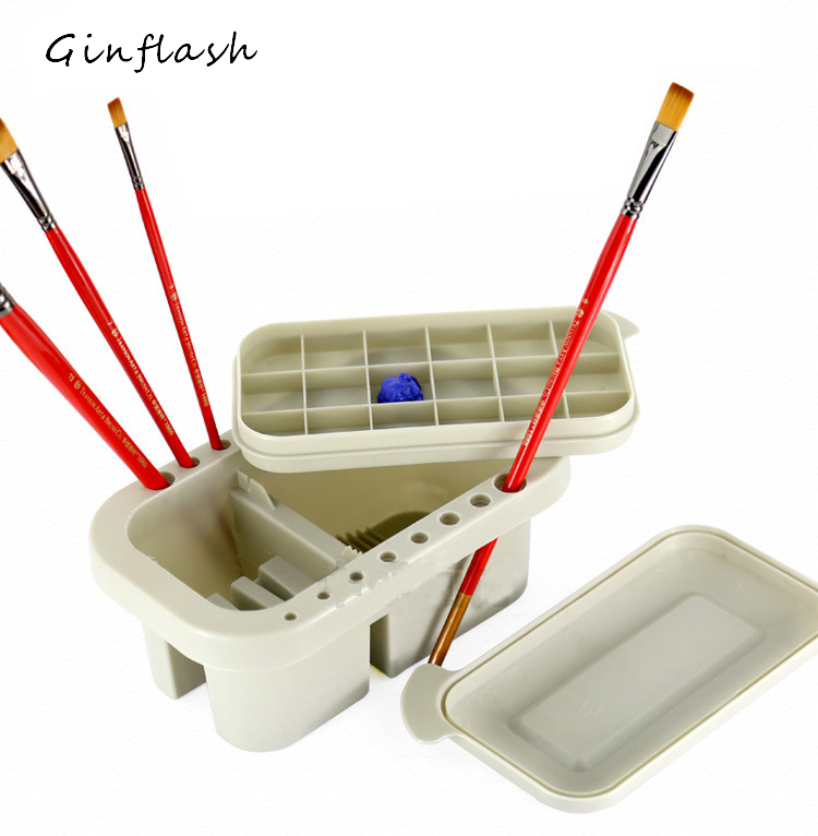 Brush Washing Bucket Multifunction Pen Barrel Brush Washer Art Supply Oil Acrylic Watercolor Tool Art  Palette Brush Holder