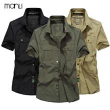 MANLI Outdoor Men's Summer Shirts Brand Short Sleeve Shirt 100% Pure Cotton Army Green Clothing Fishing Trekking Hiking Coat
