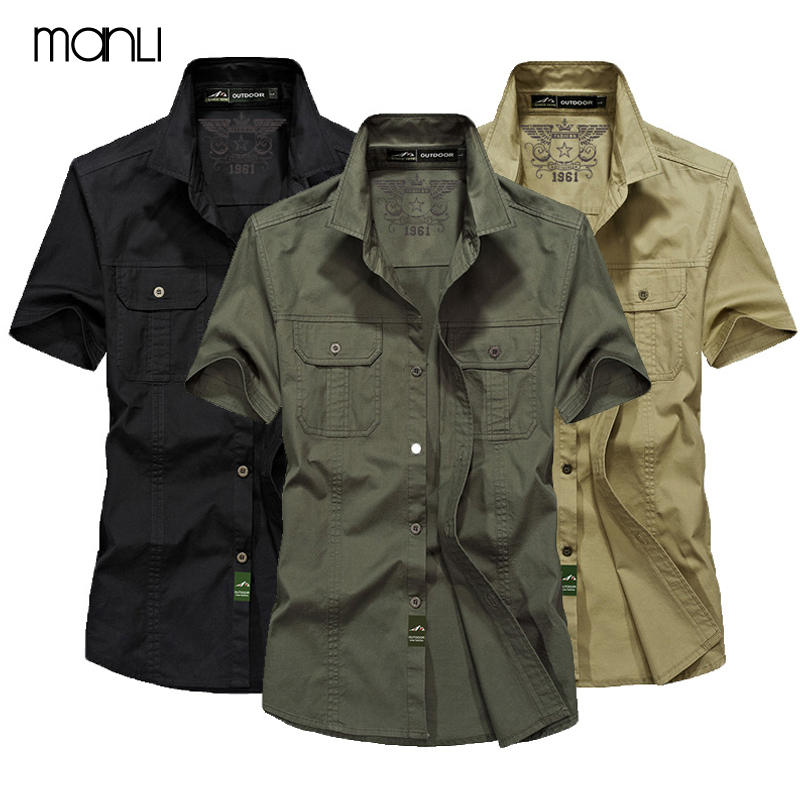 MANLI Outdoor Men's Summer Shirts Brand Short Sleeve Shirt 100% Pure Cotton jeep Army Green Clothing Fishing Trekking Hiking