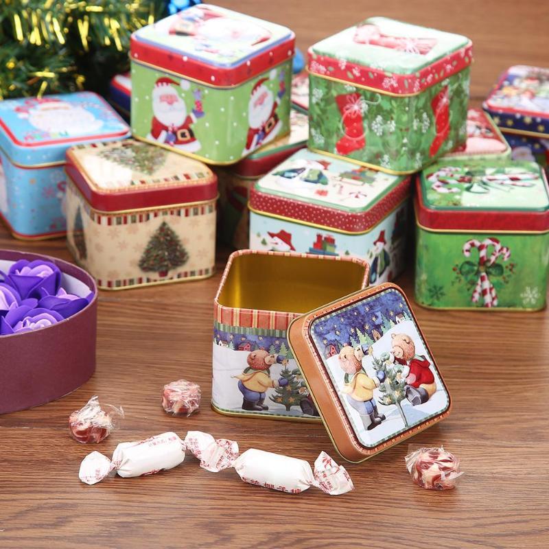 12pcs Mini Square Christmas Candy Gift Tin Box New Year Packing Santa Claus Snowman Printed Sealed Jar navida