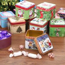 12pcs Mini Square Christmas Candy Gift Tin Box New Year Packing Santa Claus Snowman Printed Sealed Jar navida