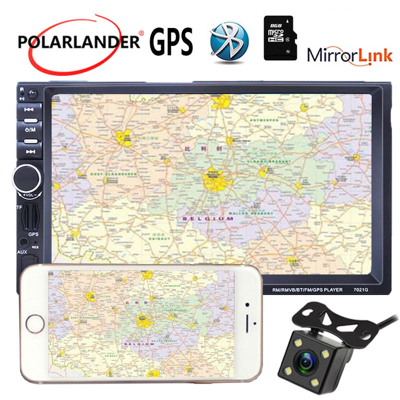 Mirror For Android Phone 2Din Car Radio Stereo MP5 Player FM USB 7Inch 8G Map Card GPS Navigation Mirror Link Screen With Camera