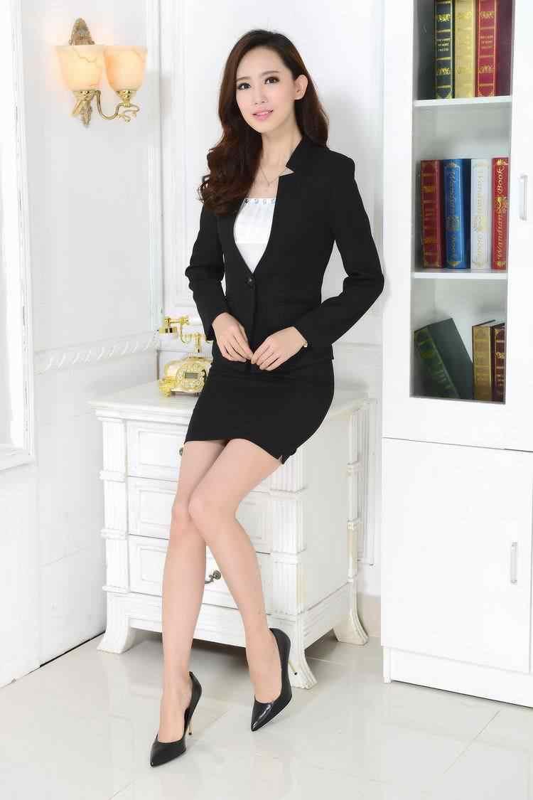 3380318cd Nuevo 2018 Otoño Invierno Formal rojo Blazer mujeres trajes con falda y  chaqueta conjuntos Terno Feminino señoras Oficina uniforme estilo