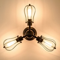 Vintage Industrial Wall Lamp Loft Wall Sconce Black Iron cage E27 Balcony Stair Porch Restaurant Bedroom Wall Light Home Light