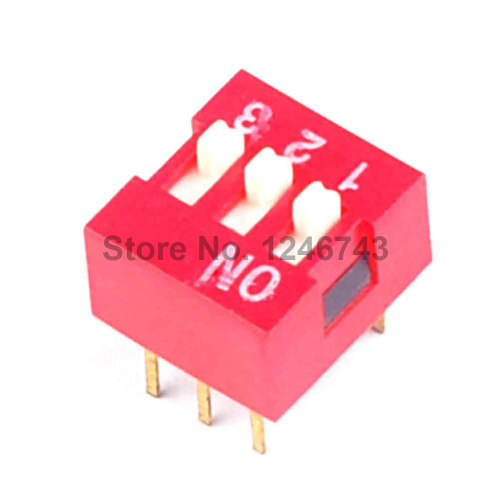 30PCS 2.54mm 3Pin Flat Dial Switch Toggle Switch DIP Switch