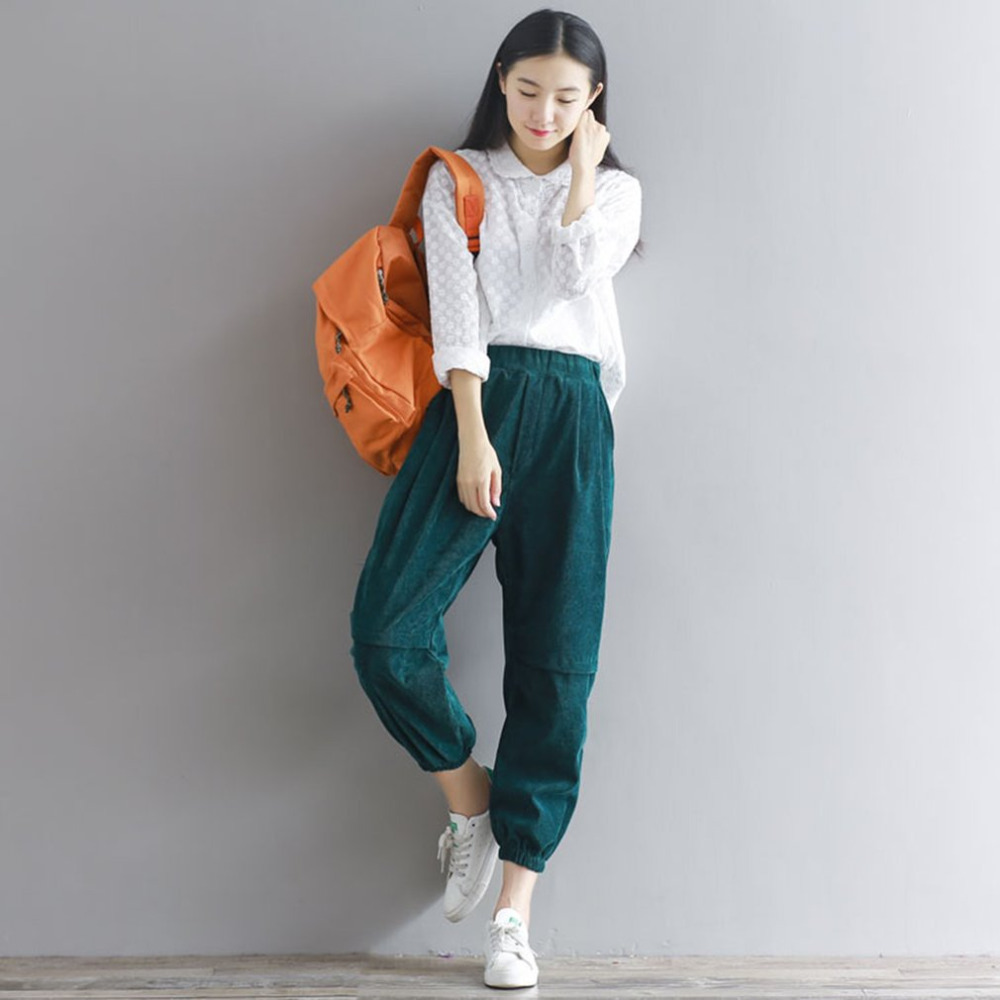 Autumn Winter Solid Color Women Corduroy   Pants   Vintage Casual Warm Lady Loose Cotton Harem Trouser Carrot Shape   Wide     Leg     Pants