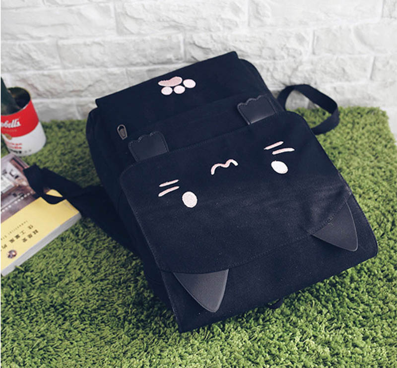 HTB1vg1FSXXXXXbVaXXXq6xXFXXX9 - Women Cute Cat Backpack Canvas Kawaii Backpacks School Bag for Student Teenagers Lovely Rucksack Cartoon Bookbags Mochilas