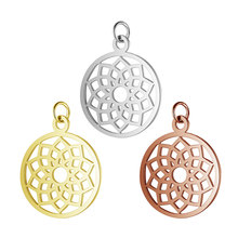 5pcs Titanium Stainless Steel Yoga Lotus Chakra Charm Gold Silver Rose Color Round Tag Hollow Flower Pendant Craft