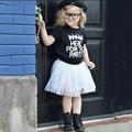 2016 New Fashion Girl Dress Girl Clothes Summer Black Letter Short Sleeve T-shirt+White Mesh dress 2pcs clothing set