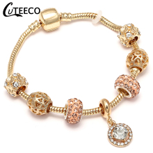 CUTEECO 2018 European New Style Gold Charm Bracelet AAA Clear CZ Pendant Fits Brand Women Jewelry