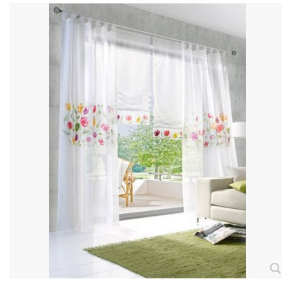 White Cotton Bedroom Curtains: (2.7m High) Romantic Tulle Cotton Linen White Sheer Window