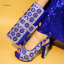 doershow Blue Nice Italian Matching Shoes And Bag Set African Style Ladies  red Shoes And Bag To Match For Wedding Dress! XA9-4 ed8aaab4ee15