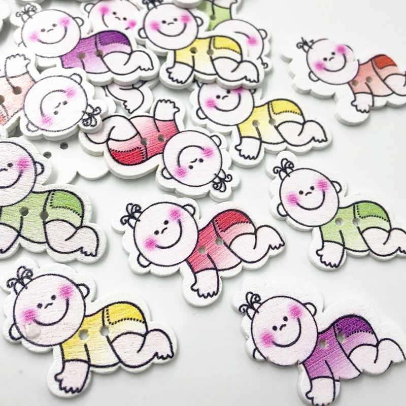 100 piezas al azar mezclado 2 agujeros patrón bebé dibujos animados madera coser botones Scrapbooking 31x22mm WB609