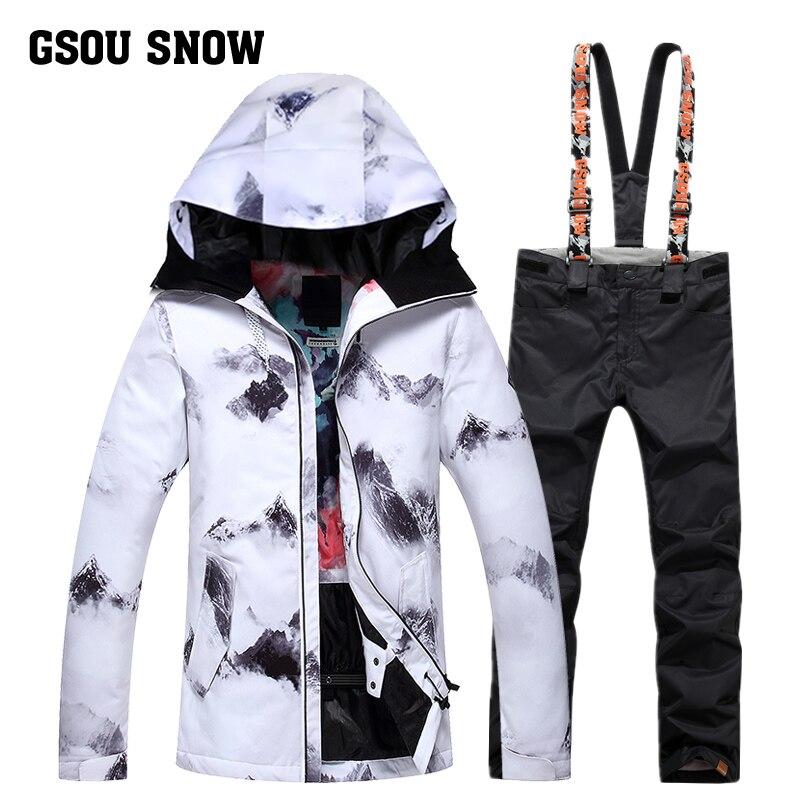Gsou Снежный одноплатный водонепроницаемый ветрозащитный Теплый зимний длинный лыжный костюм женский костюм для взрослых бренд