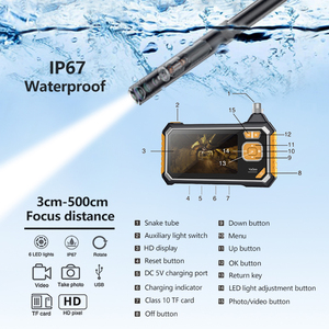 Image 5 - Antscope 1080P HD 8mm endüstriyel endoskop 4.3 inç oto tamir muayene kamera endoskop lityum pil yılan sert kamera 19