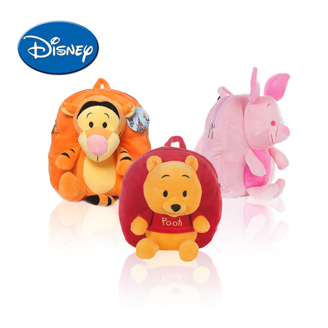 09cf429e5a9 Disney Backpack Cartoon Children Schoolbag for Kids Winnie The Pooh Lilo  Piglet Plush Safe PP Cotton