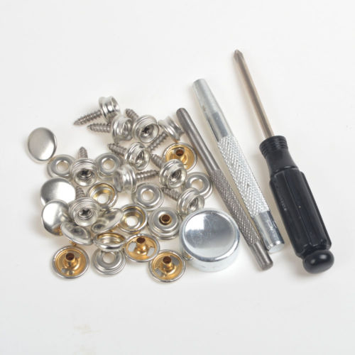 Pack 10 Sets Silver Black Antique Brass Press Studs Snap Fasteners