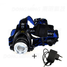 CREE XML T6 2000 lumen LED Zoomable Headlamp Rechargeable 18650 Headlight frontale lamp head Flashlight with charger