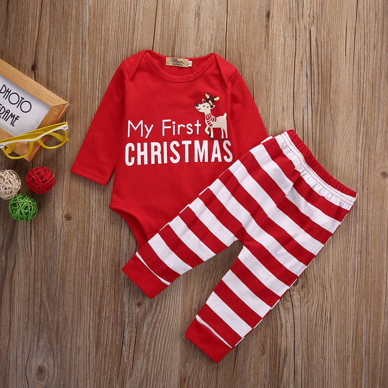 6c8fe8fcc Newborn Baby Girls MY First Christmas Romper +Stripe Pants 2Pcs Outfits  Xmas baby girls clothes set newborn clothing set newest-in Clothing Sets  from Mother ...