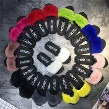 Été Femme Fourrure Pantoufles Mode Casual Sandales Femmes Confortable Femmes Appartements Pantoufles Femmes Chaussures Réel De Fourrure De Lapin 9 couleurs