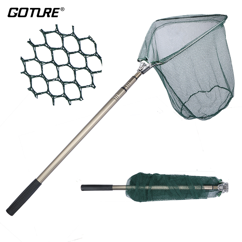 Goture 185cm Folding Fishing Net Triangular Landing Fishing Network 3 Section Telescopic Hand High Strength Fish Net