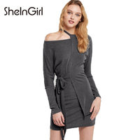SheInGirl Solid Grey Women Sexy Asymmetrical Dress Cold One Shoulder Lace Up Waist Female Casual Vestidos