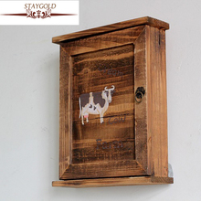 Купить с кэшбэком New key box of country style Cow hanging pattern solid wood bake the old color restoring ancient ways Storage Box Decorative