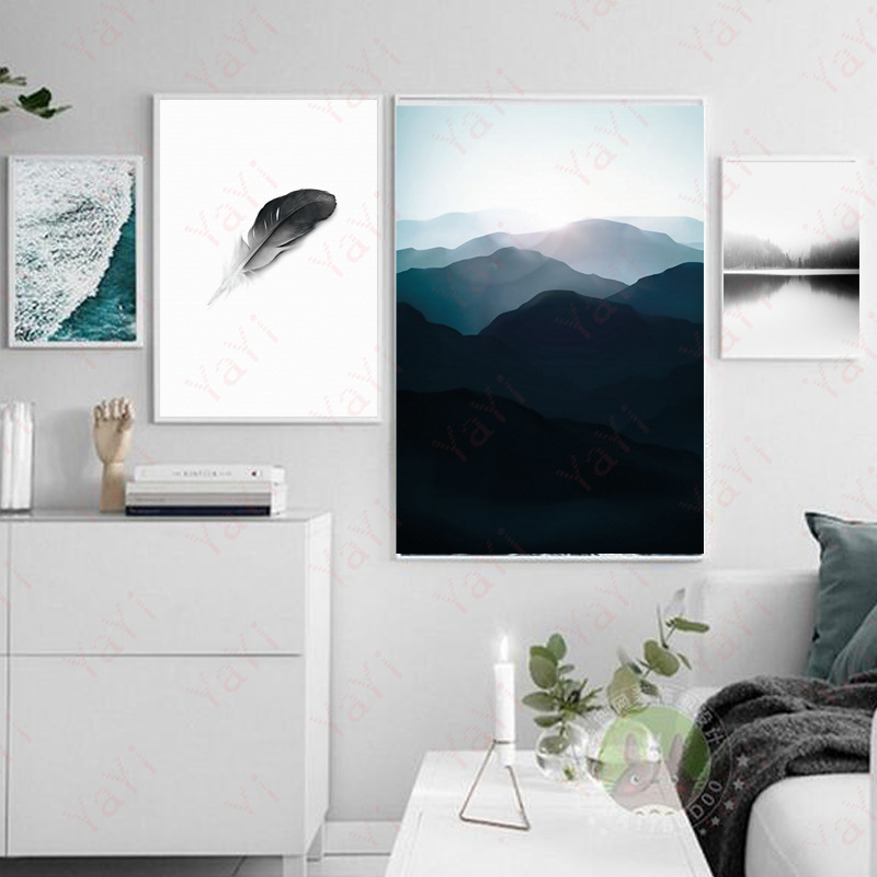 HAOCHU 4 sets Nordic modern simple style home decoration canvas painting poster quiet ri ...