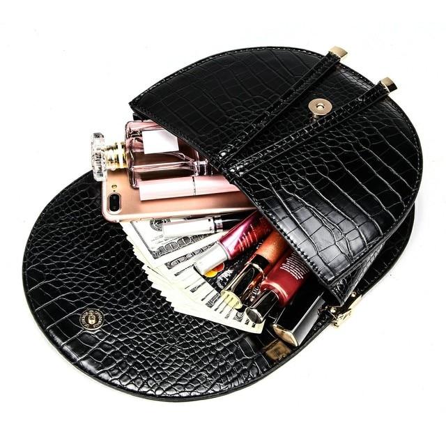 Crocodile Pattern Crossbody Bags for Women Half Round Messenger Bag Pu Leather Luxury Handbags Women Bags Designer Shoulder Bag 4