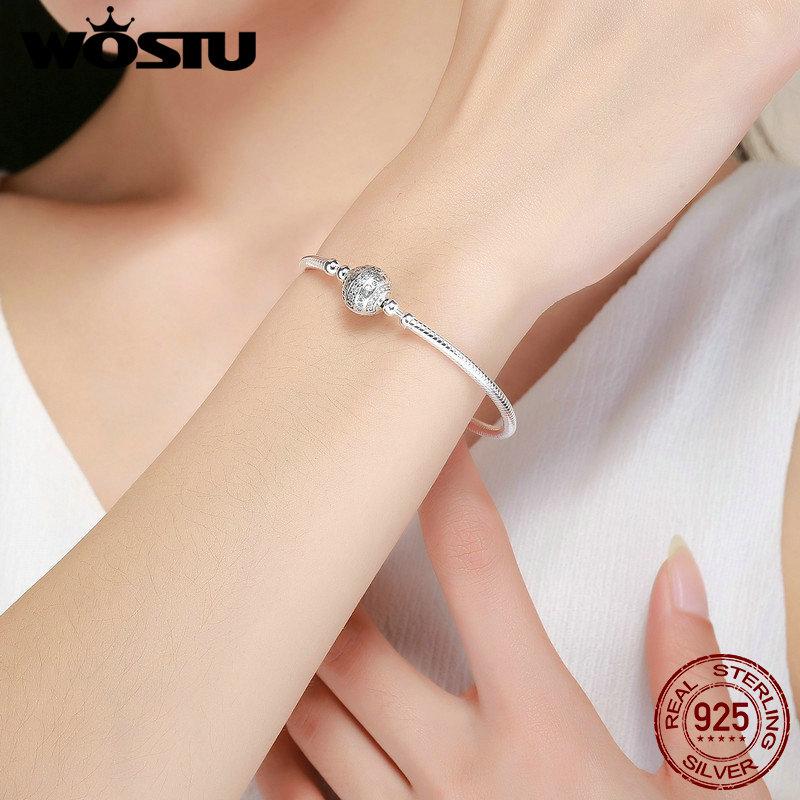 Image 2 - WOSTU Real 925 Sterling Silver Sparkling Ball Bracelet