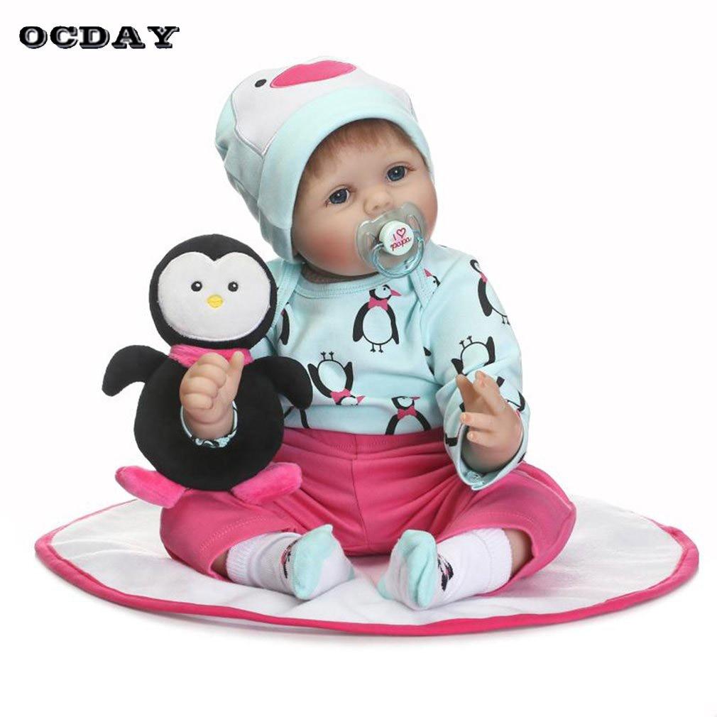 22 inch Silicone Reborn Baby Girl Boy Doll Newborn Lifelike Realistic Cloth Body Children Play Doll Toys Gift bonecas Brinquedos