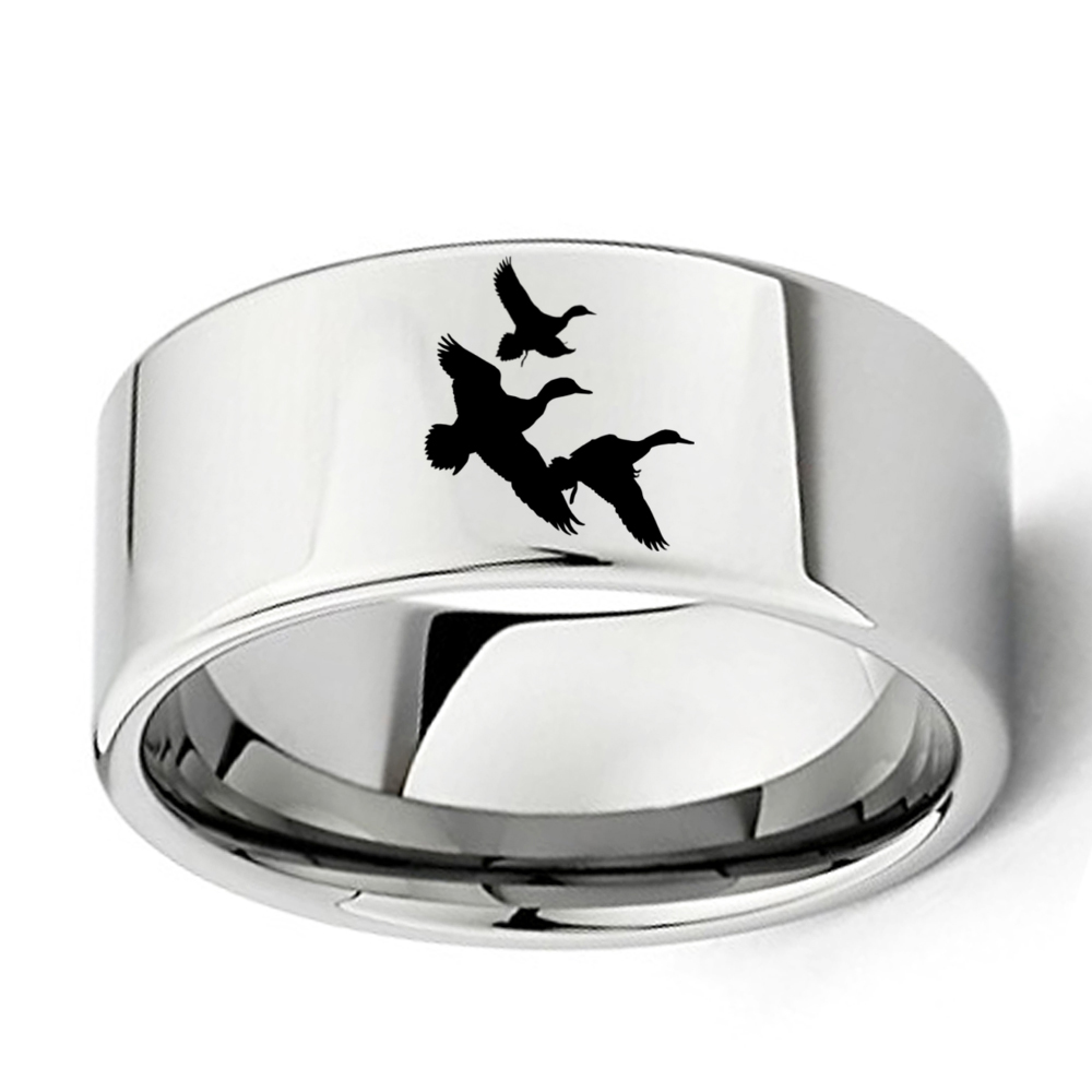3 Flying Ducks Landscape Engraved 11mm Wide Flat Polish Tungsten Carbide Ring Mens Outdoors Special Band Size 7 - 13