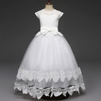 AmzBarley Kids Fomal Dress Lace Bowknot Wedding Dresses Children Ball Gown Fancy girls Evening Prom Teenager Long party costume