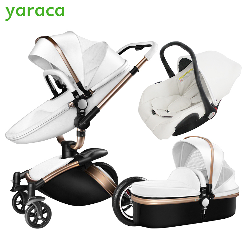 Baby Stroller 3 in 1 Car Seat High View Pram For Newborns Folding Baby Carriage 360 Degree Rotation Travel System Baby Trolley stroller car seat newborn pram 3 wheels baby stroller 3 in 1 prams pushchair pram stroller travel system free shipping