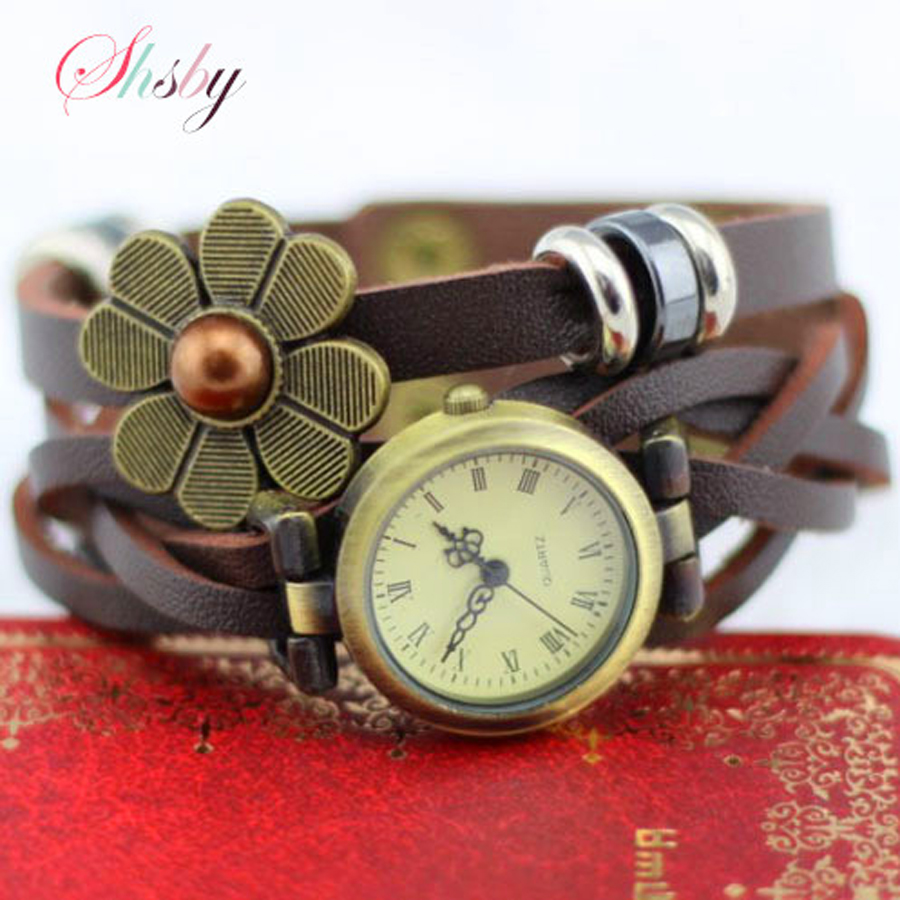 Shsby ใหม่ผู้หญิงสายหนังวินเทจนาฬิกาดอกไม้ของหยดสร้อยข้อมือผู้หญิงแต่งตัวดูนาฬิกาข้อมือผู้หญิงสีน้ำตาล