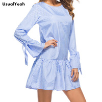 UsualYeah Spring Women Long Sleeve Flare Sleeve Plaid Short Dresses Casual Vestidos Blue Pink S M