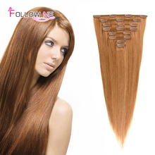 Top Selling 22inches Remy Clip In Hair Extension 70g/pc 100g/pc 120g/pc #27 Brazilian Virgin Hair Clip In Extension