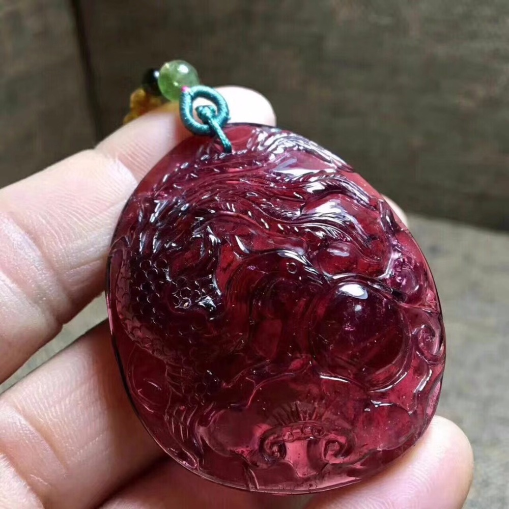 Fine Jewelry 100% Natural Red Tourmaline 27.1g Carved Tourmaline Female Womens Gemstones Pendant NecklacesFine Jewelry 100% Natural Red Tourmaline 27.1g Carved Tourmaline Female Womens Gemstones Pendant Necklaces