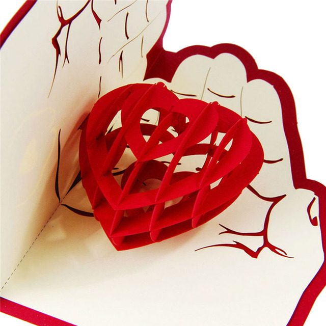 3D Heart in Hands Postcard
