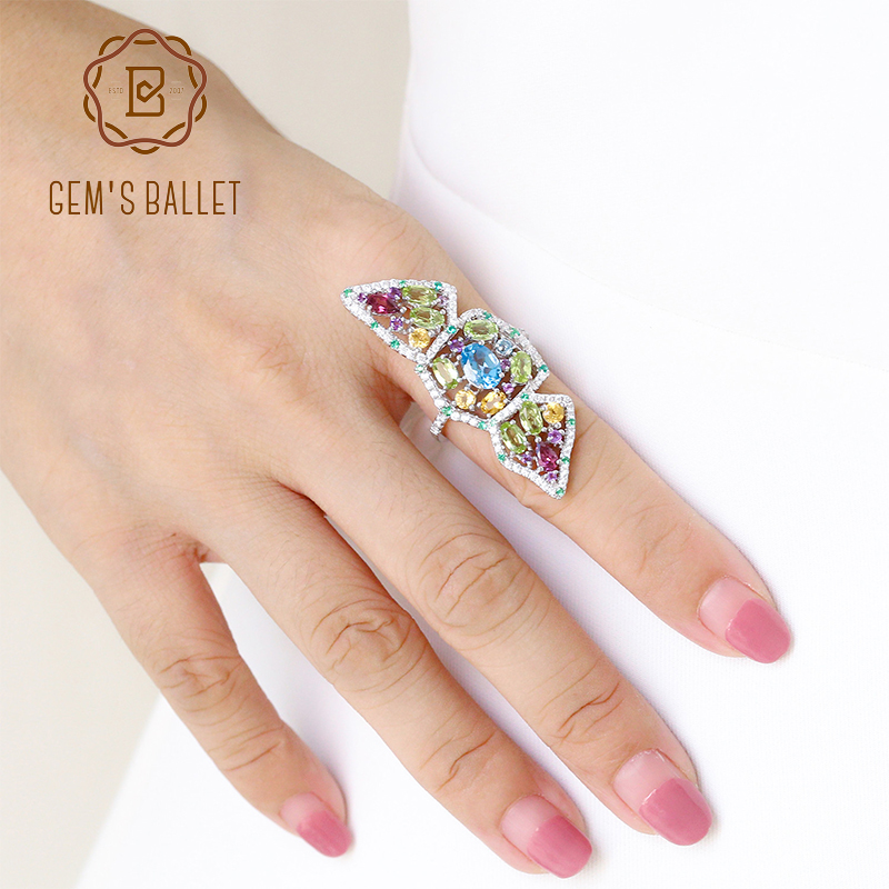 GEM S BALLET Multicolor Natural Topaz Amethyst Garnet Peridot Citrine Cocktail Ring 925 Sterling Silver Rings