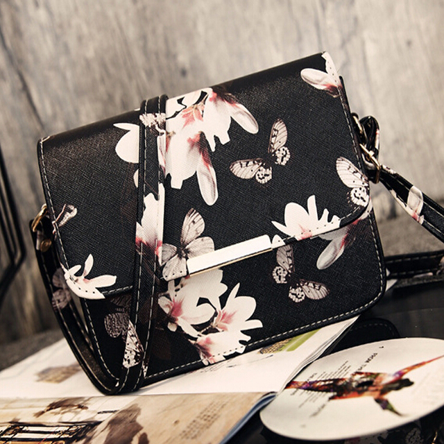bf7ef93fa118 New butterfly flower printing Korean fashion PU leather shoulder bag  diagonal package women mini handbags messenger bags