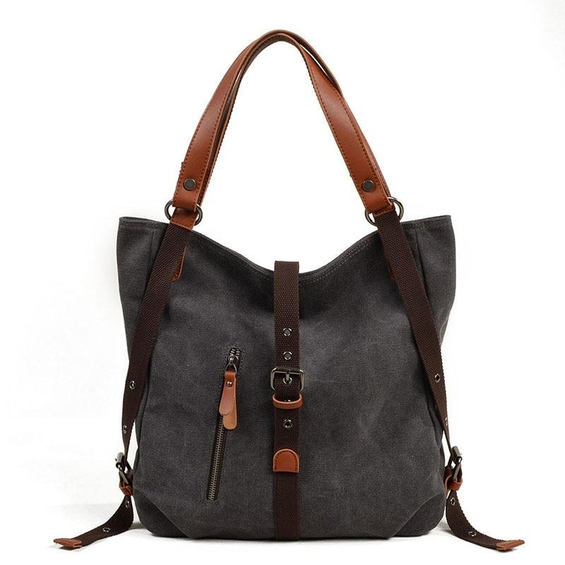 2018 Canvas Shoulder Bags For Women's Vintage Back Pack  Simplicity Casual Crossbody Bags Female Big Handbag