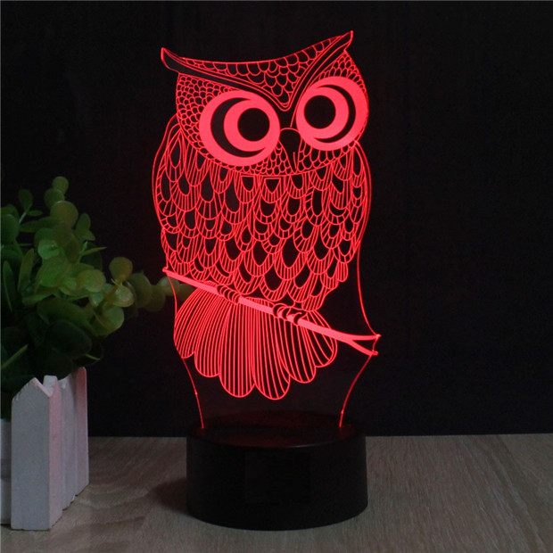 Laser Engraved Acrylic Colorful Gradient Atmosphere Bird Lamp 3D Illusion Owl  Lamp Color Changing Touch Light USB Novelty Lights In LED Table Lamps From  ...