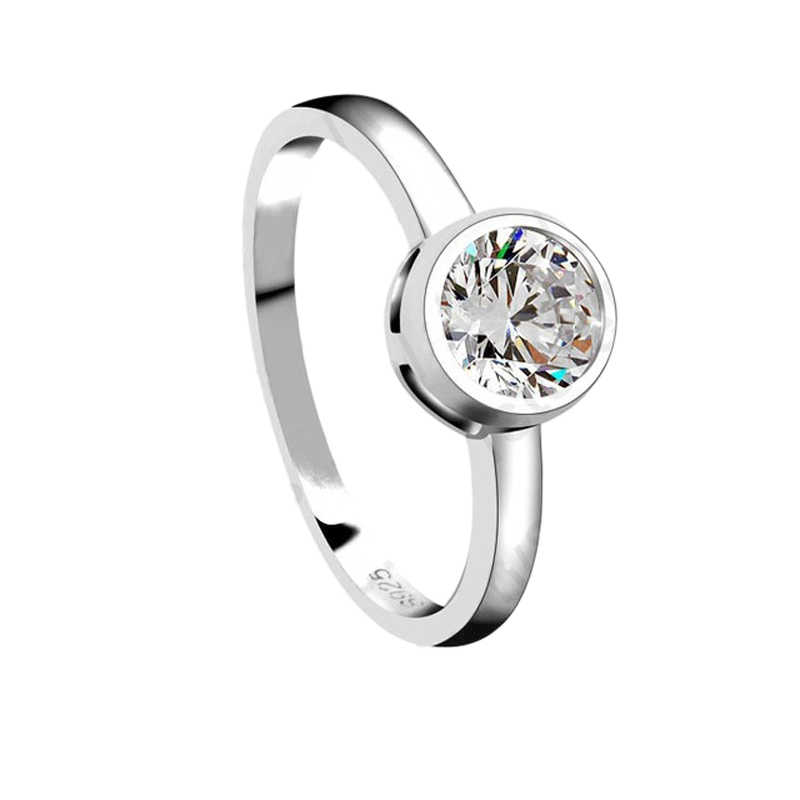 รอบ Cubic Zirconia เครื่องประดับอินเทรนด์ 925 เงินสเตอร์ลิงแหวนสำหรับงานแต่งงานหญิงเจ้าสาว Anillos ขายร้อน
