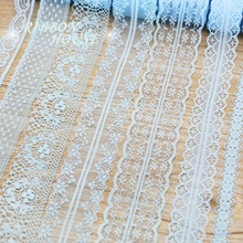 (10 yards/roll) sky blue color lace fabric ribbon decoration gift wrapping material