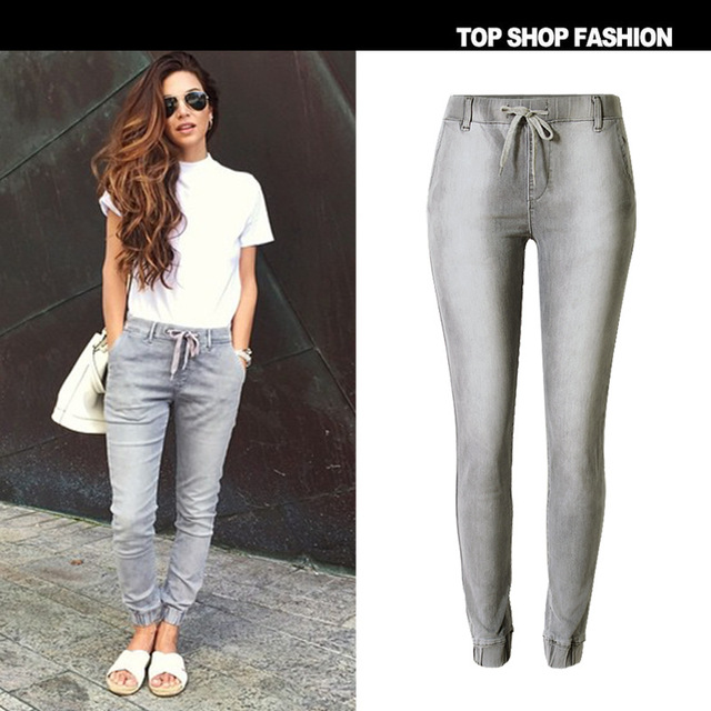 4078312828 Nueva marca denim Mujer pantalones harem ocasionales femeninos delgados  vaqueros de las mujeres pantalones vaqueros elásticos